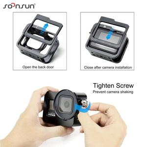 Image 5 - SOONSUN Aluminum Alloy Multi angle Shooting Cage Protective Frame Case Mount with 52mm UV Lens Filter for GoPro Hero 8 Black