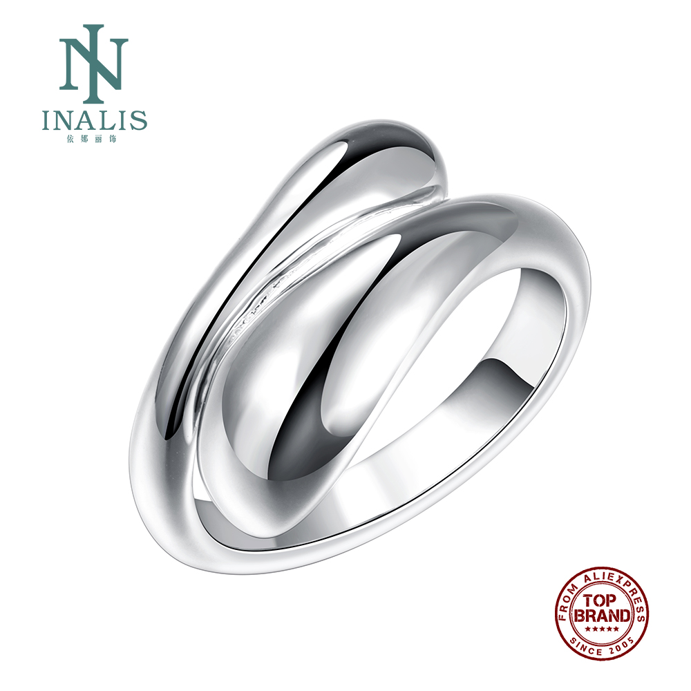 INALIS Fine Fashion Adjustable Copper Flat Silver Plated rings For Women Girl Female Party Jewelry
