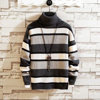 Winter Turtleneck Sweater Men's Warm And Fashion Casual Knit Pullover Men Streetwear Loose Knitting Sweaters Mens Clothes M-2XL men s sweaters autumn and winter clothes men s jackets sweaters warm winter clothes men s clothes sweater men mens sweaters