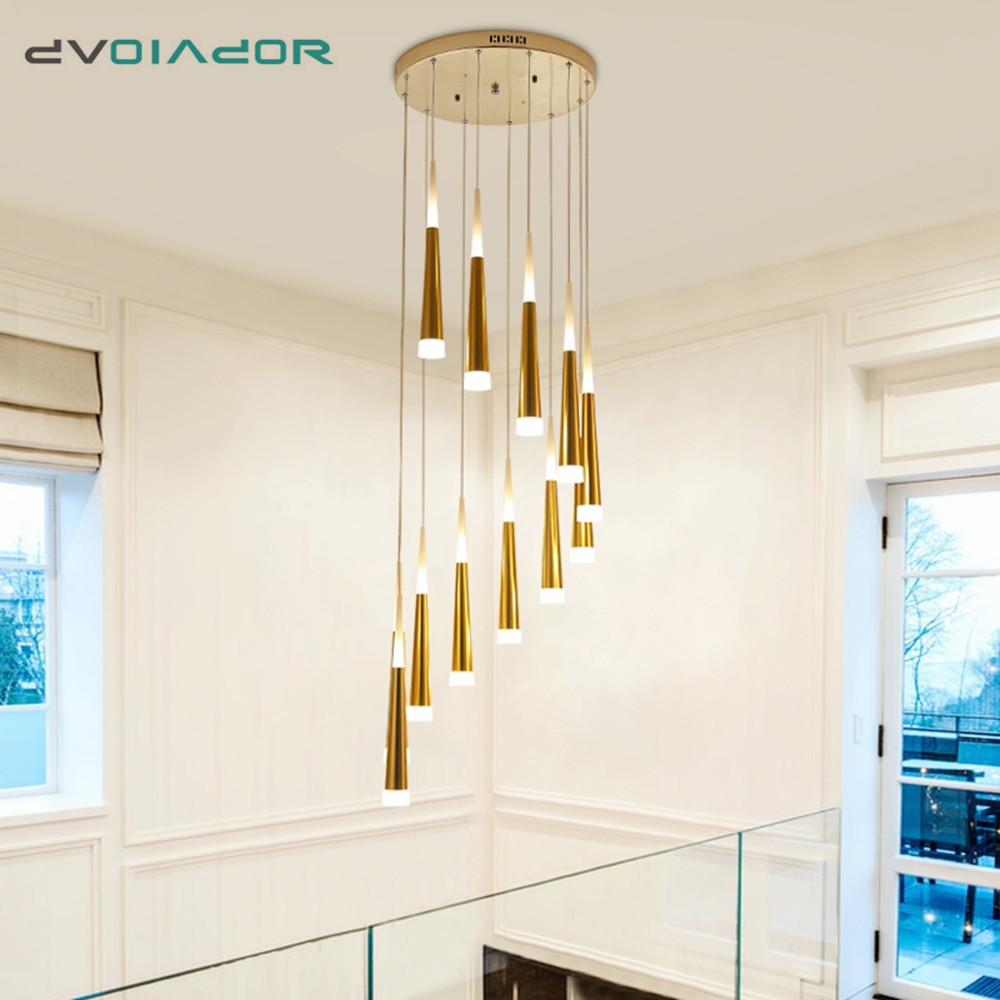 Modern Pendant Lights Led Golden Conical Pendant Lamp Acrylic+Aluminum Living Room Stairs Corridor Hotel Office Hanging Lights