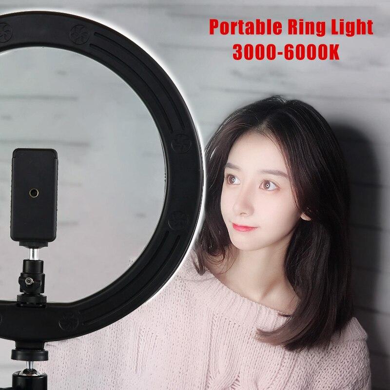 LED Selfie anneau lumière photographie Dimmable anneau lumière Youtube vidéo en direct Photo Studio lumière avec support pour téléphone prise USB trépied