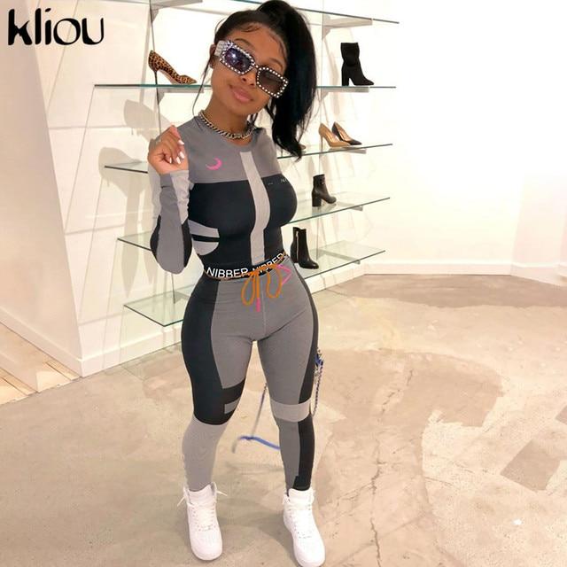 Kliou women fitness two pieces set tracksuit long sleeve crop top letters print elastic skinny leggings sportswear slim outfit