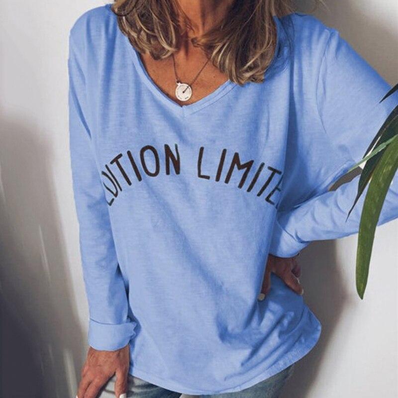 Осенние женские футболки с буквенным принтом, модные однотонные Топы в стиле Харадзюку, женская футболка с длинным рукавом, женская одежда