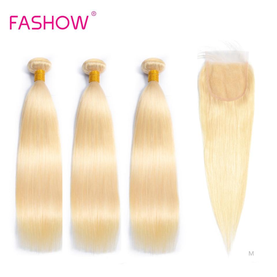 Fashow 613 düz saç 3 adet demetleri ile kapatma 4 × 4 Swiss dantel % 100% İnsan saç bal sarışın renk brezilyalı Remy saç