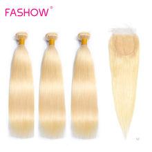 Fashow-mèches brésiliennes Remy 613 naturelles, lisses, blond miel 100%, 4x4, avec Closure, 3 pièces