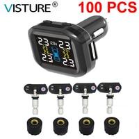 100 pcs/ lot Visture TPMS Mit 10W USB Ausgang Auto Reifendruck Alarm System Reifen Überwachung Externe Interne sensor T07W T07N-in Reifendruck-Alarm aus Kraftfahrzeuge und Motorräder bei
