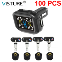 100 pcs/ lot Visture TPMS With 10W USB Output Car Tire Pressure Alarm System Tyre Monitoring External Internal Sensor T07W T07N