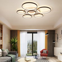 Surface mounted modern led ceiling lights lamp for living room bedroom study white+coffee color 110-240V