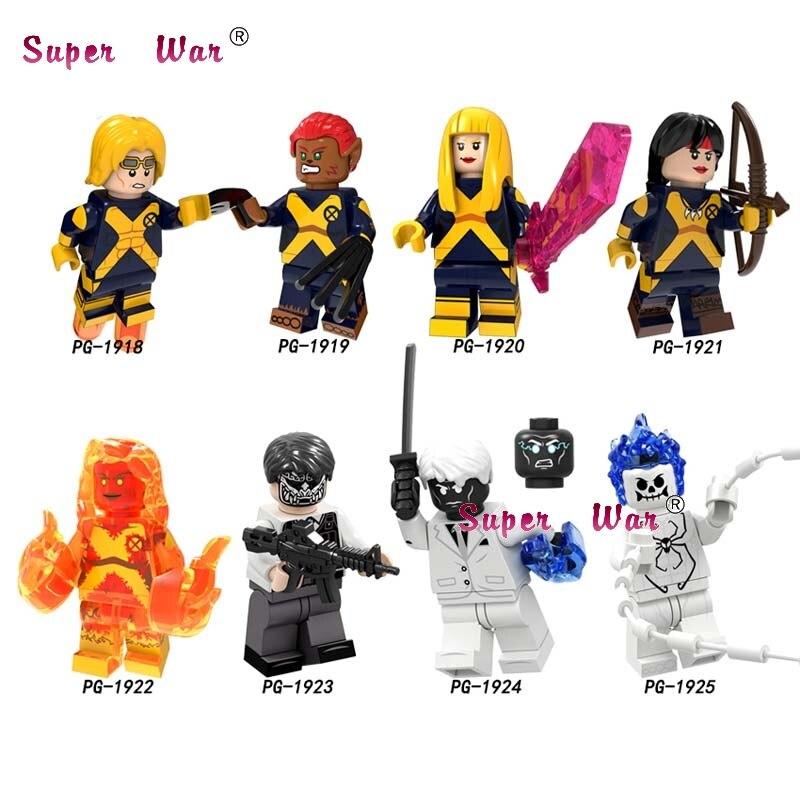 Single Super Heroes New Mutants Wolfsbane Cannonball Magik Batman Yondu Victory Captain Deadpool Flash Building Blocks Kids Toys