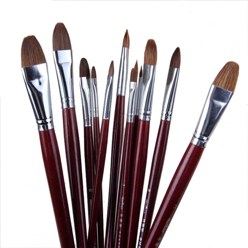 Factory Outlets 6pcs/Set High-grade Weasel Hair Brush Painting Brush Tongue Peak Row Brush Suit Acrylic Set Drawing Art Supplies
