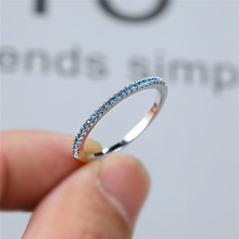 boho female blue opal stone ring dainty round crystal silver wedding rings for women cute bridal love heart engagement ring Minimalist Female Aqua Blue Crystal Ring Dainty Zircon Stone Silver Wedding Rings For Women Cute Bridal Round Engagement Ring