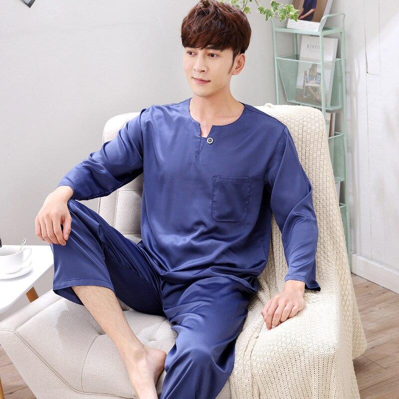 Asian Style Silk Rayon Pyjamas Men Pijamas Hombre Long-sleeve Casual Sleepwear Men Homewear Pajamas Sets For Male Muti Color