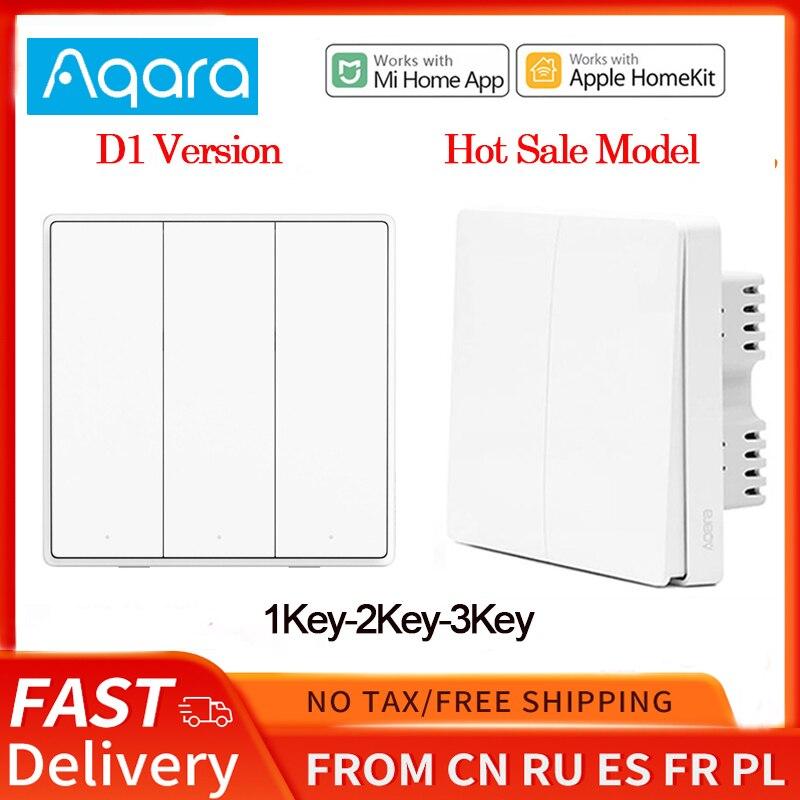 Xiaomi Aqara Wall Switch D1 ZigBee Smart Wireless Remote Control Light Zero Line Fire Wire NO Neutral 3 Key Switchs For MI Home