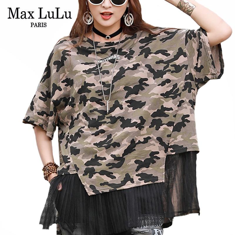 Max LuLu/Новинка 2020, модные топы в Корейском стиле, женские летние футболки, женские камуфляжные футболки, кружевная Лоскутная Женская одежда