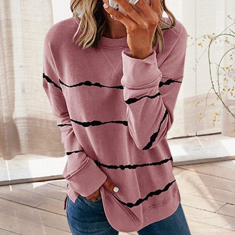 Long Sleeve Crewneck Sweatshirt Women Vintage Pullovers Sweatshirt Striped Tops Streetwear Women Oversized Hoodie Sexy Split|Hoodies & Sweatshirts|   - AliExpress