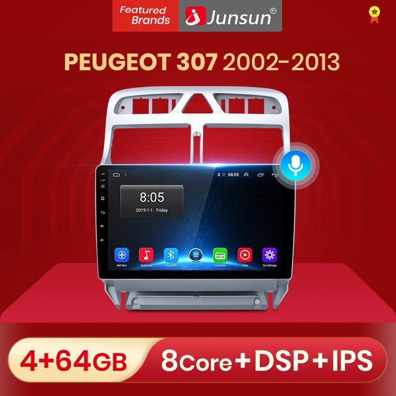Автомагнитола Junsun V1 pro 2 ГБ + 32 ГБ, Android 10 для PEUGEOT 307 sw 307 2002-2013, мультимедийный видеоплеер, навигация GPS, 2 din, dvd