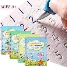 4 livros crianças copybook handwrite prático reutilizável livro livros mágicos para caligrafia escrever livro inglês carta desenho conjunto