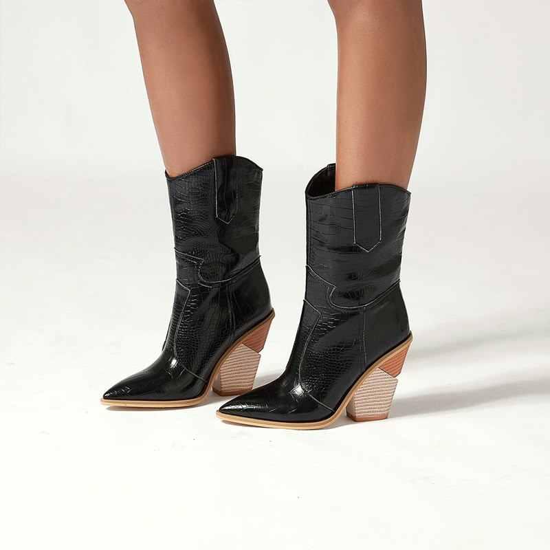 2020 Plus größe 34-48 Neue frauen stiefel herbst winter schuhe dicken high heels damen kurzen westlichen stiefel mode stiefeletten weibliche