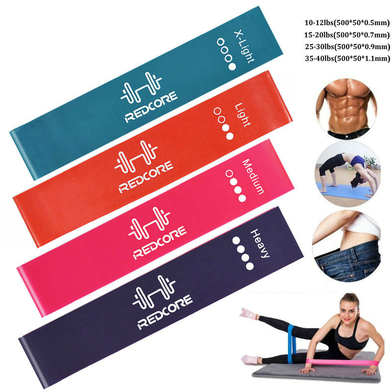 4 Level Resistance Bands Natural Latex 0.5-1.1mm Yoga Pilates Rubber Training Pull Rope Gym Sports Expander Workout Equipment