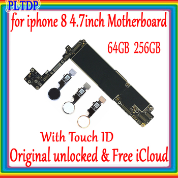 цена на 100% Original Unlocked for iphone 8 4.7 inch Motherboard With Touch ID/Without Touch ID for iphone 8 Logic board Good Tested
