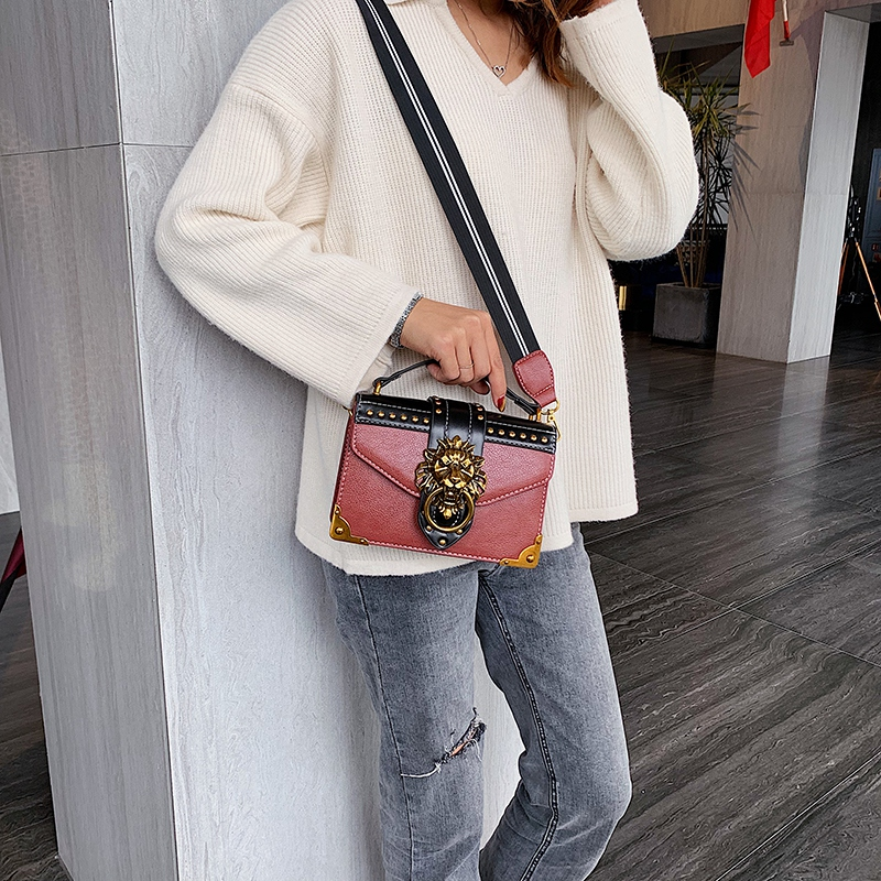 Hd7d829bb45db41048a272f69df93e04fl - Female Fashion Handbags Popular Girls Crossbody Bags Totes Woman Metal Lion Head  Shoulder Purse Mini Square Messenger Bag