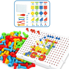 Boys Drill Screw Nut Puzzles Toys Pretend Play Tool Drill Disassembly Assembly Children Drill 3D Puzzle Toys For Boy Magic Plate