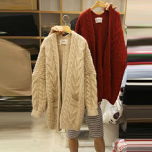 Autumn Sweater New Style Women Wear Loose Medium and Long Thick Knitted Jacket V-Neck Cardigans 2019
