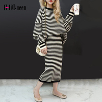 2019 Autumn Women Knitted Sweater Suits Striped Loose Sweater Top+ Bodycon Slim Midi Skirts Set Female Casual 2 Pieces Outfits