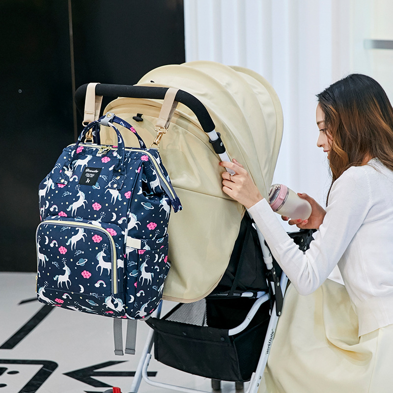 Unicornio pañales, mamá bolsa mochila bolsa de viaje de dibujos animados colorido de enfermería bolsa múltiples bolsa de pañales para la mamá bolsa para cochecito de bebé