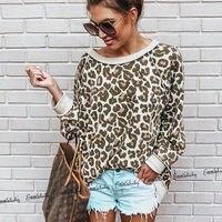 Корейские Модные свободные леопардовые Топы с длинным рукавом, женские мягкие теплые уличные свитера, повседневная женская блузка, пуловер...