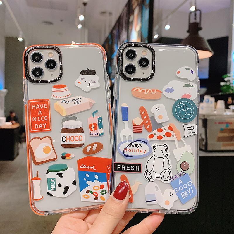 Colorful edge cartoon bear clear Cases for Xiaomi 8 9 10 9T A3lite soft TPU cover for Redmi Note7 Note8 Pro K20 K30 back Cases