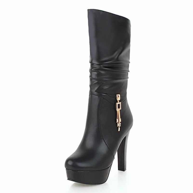 Meotina Sonbahar Orta Buzağı Çizmeler Kadın Kristal Platformu Kalın Topuklu Çizmeler Pilili Aşırı Yüksek Topuk Ayakkabı Bayanlar Kış Büyük Boy 43