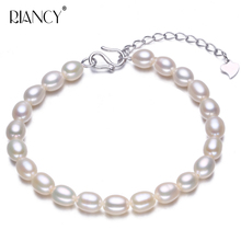 Fashion white Freshwaer pearl Bracelet 925 sterling silver adjustable Pearl Jewelry Natural For Women
