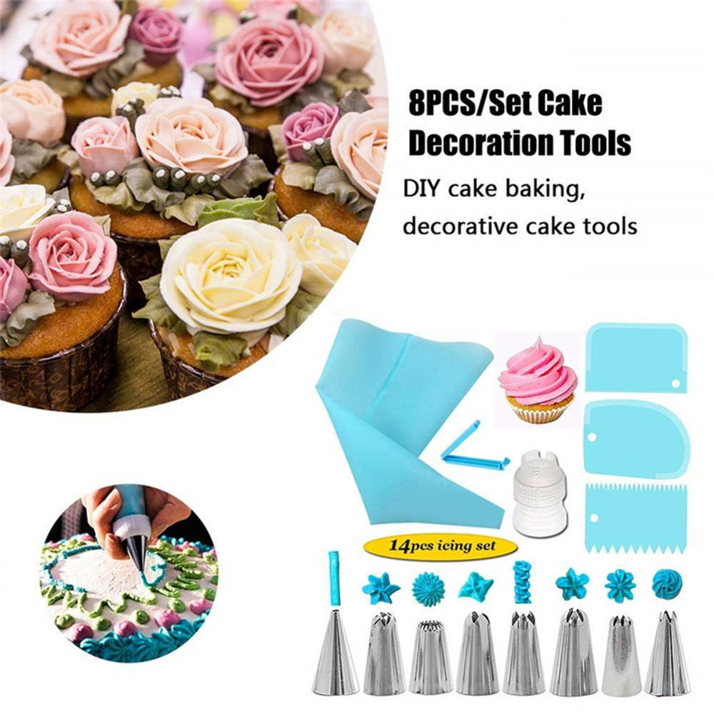 Reusable Cake Icing Piping Nozzles Set Pastry Bag Scraper Flower Cream Tips Converter Baking DIY Cake Kitchen Decorating Tools