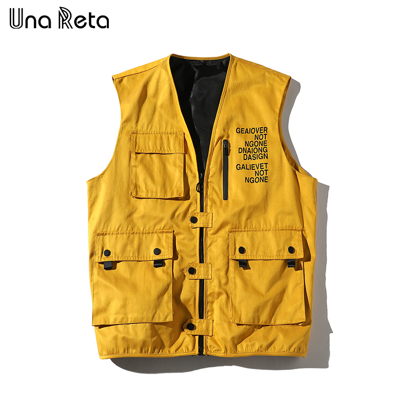 Una Reta Hip Hop Vest Men New Arrivals Military Multiple Pockets Cargo Vest Core Vest Sleeveless Jacket Men's Vest Streetwear