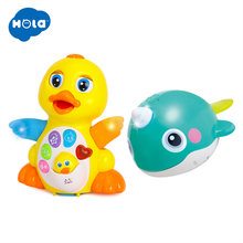 HOLA 808&8101 Dancing Walking Yellow Duck Baby Toy And Bath Toy Bathing Spouts Bubble Whale bathroom Toys(China)