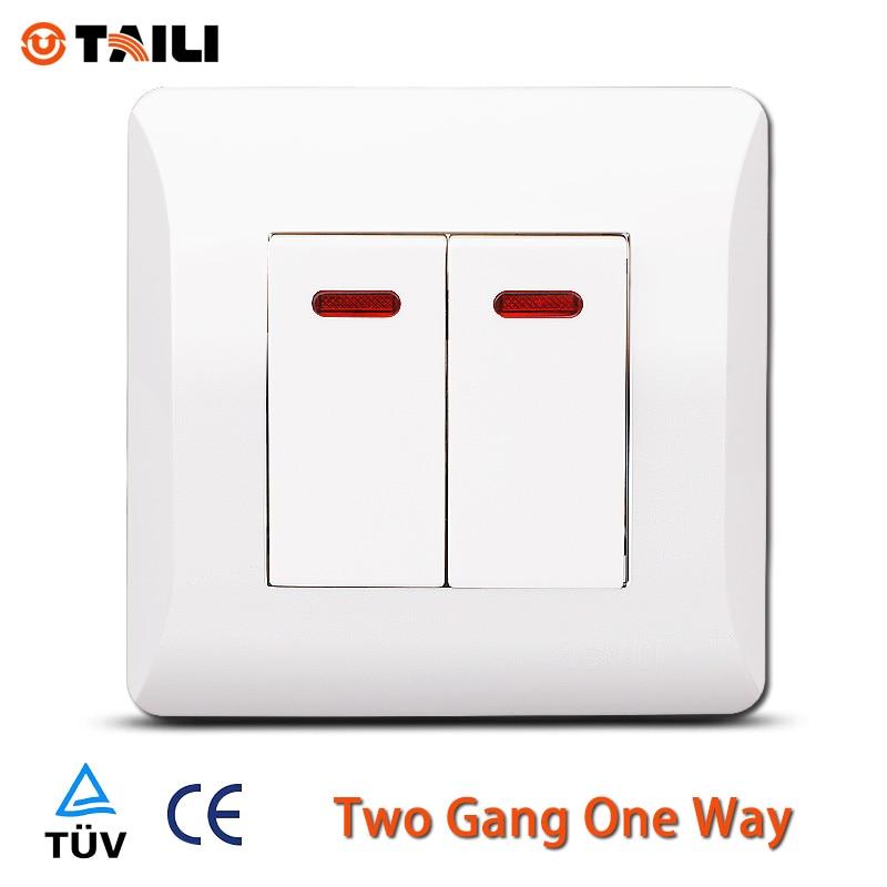 Taili Eu Standard Wall Switch 2 Gang 1 Way Switch Light Switch With 2 Push Button Tl0612