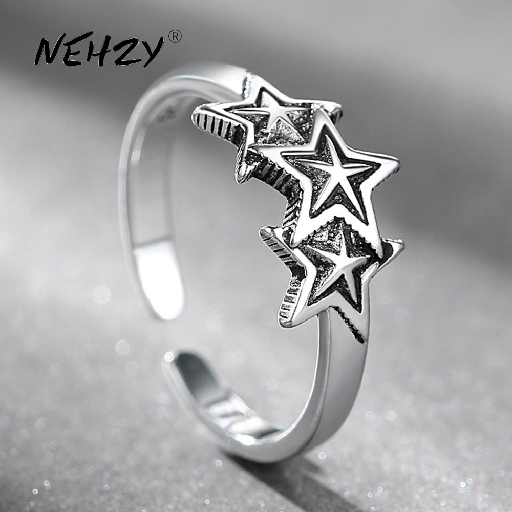 NEHZY 925 sterling silver ring fashion woman jewelry retro simple Thai silver adjustable star hot sale new high quality ring