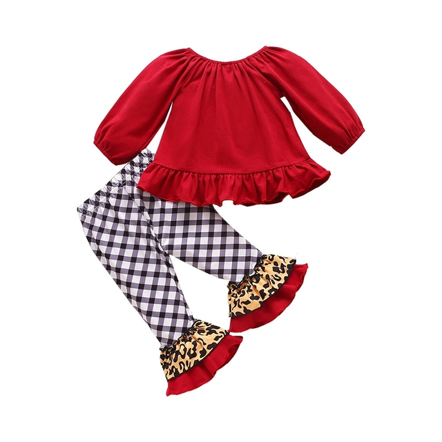 2Pcs Autumn New Children Girls Casual Suits Leopard Print Christmas Tree Sweater+ Flared Pants Children Clothing Outfit 0-4Years 2