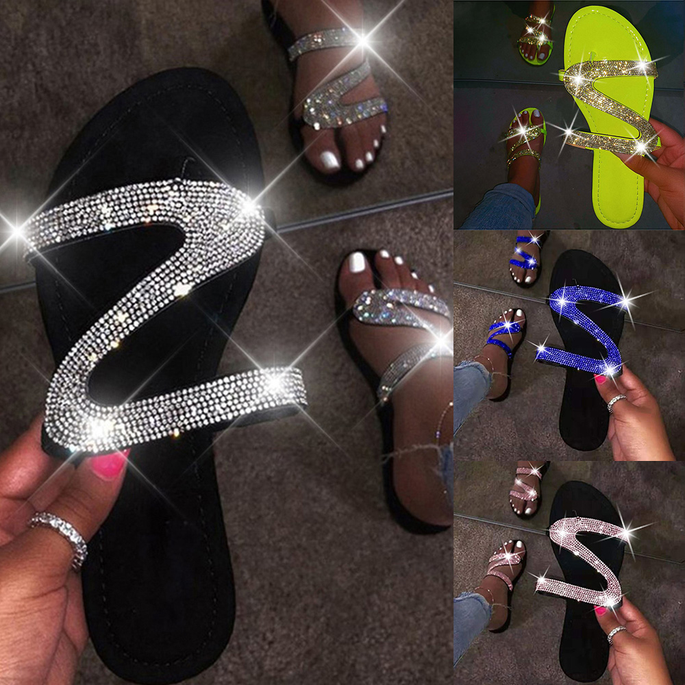 Women Summer Flat Bling Slippers Casual Flip Flops Non-Slip Outdoor Beach Slides Sandals Sexy Crystal Slippers Shoes Ladies 2020
