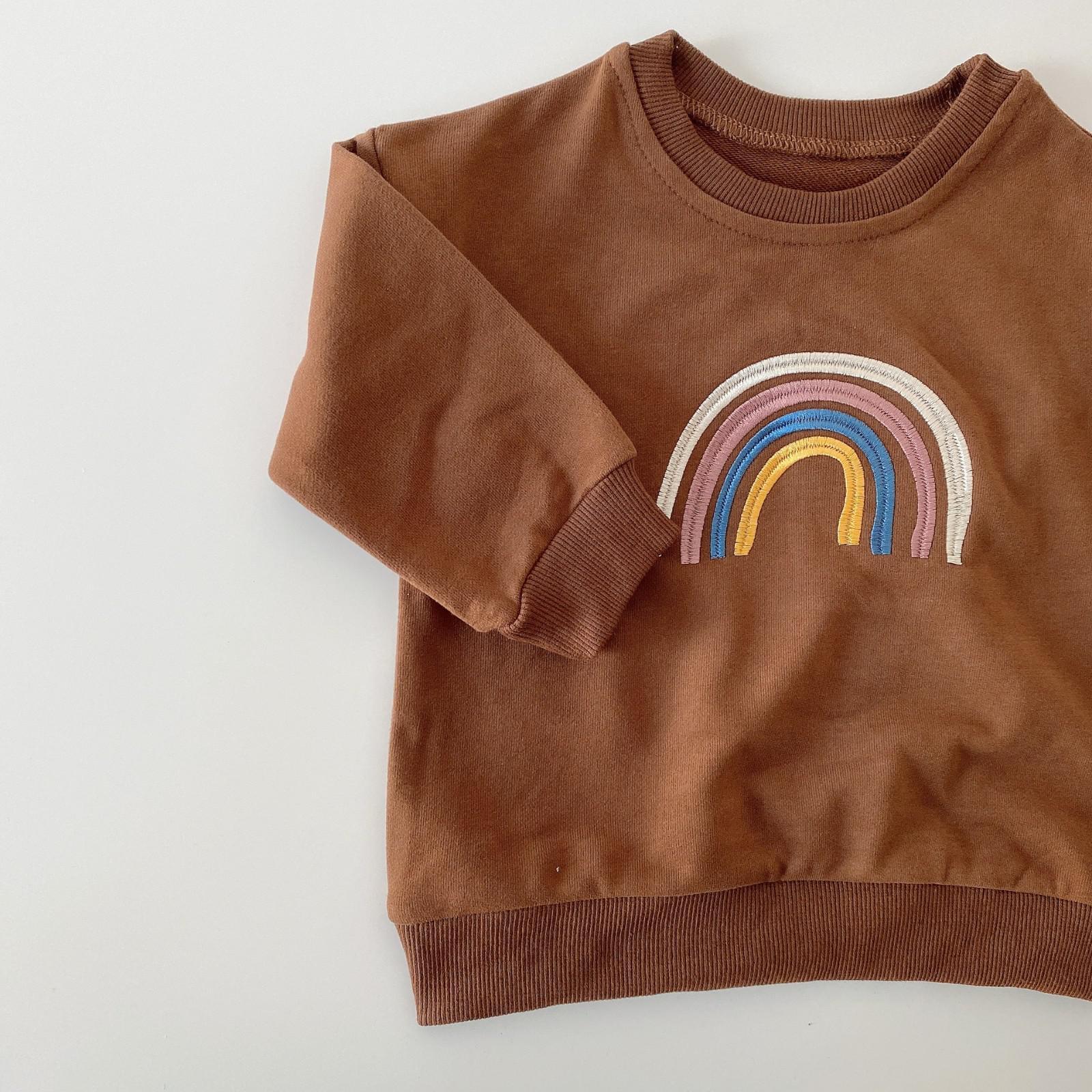 Autumn Baby Girls Embroidery Rainbow Sweatshirts Long Sleeve Tops Kids Toddler Boys Pullover Sweatshirt Rainbow T-shirt Clothes 9