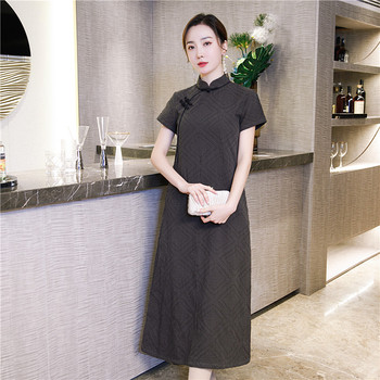 Oversize 4XL Vestidso Elegant Mandarin Collar Cotton Linen Long Cheongsam Classic Short Sleeve Chinese Dress Gray Sexy Qipao new red embroidery flower female modern cheongsam elegant mandarin collar chinese style dress cotton long sleeve qipao l xxl