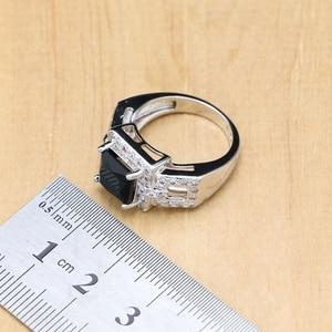 Image 5 - Ensembles de bijoux de mariée en argent 925, pierres noires, cristal blanc, boucles doreilles, pendentif, collier, bagues, Bracelet, pour dames