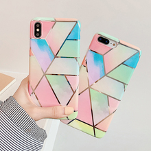For Iphone 7 8 Plus 6 Colored Gradient Square Lattice Pattern Phone Case For IPhone X XS 7 8 Plus 6 6S Glossy Soft Silicone Case цены