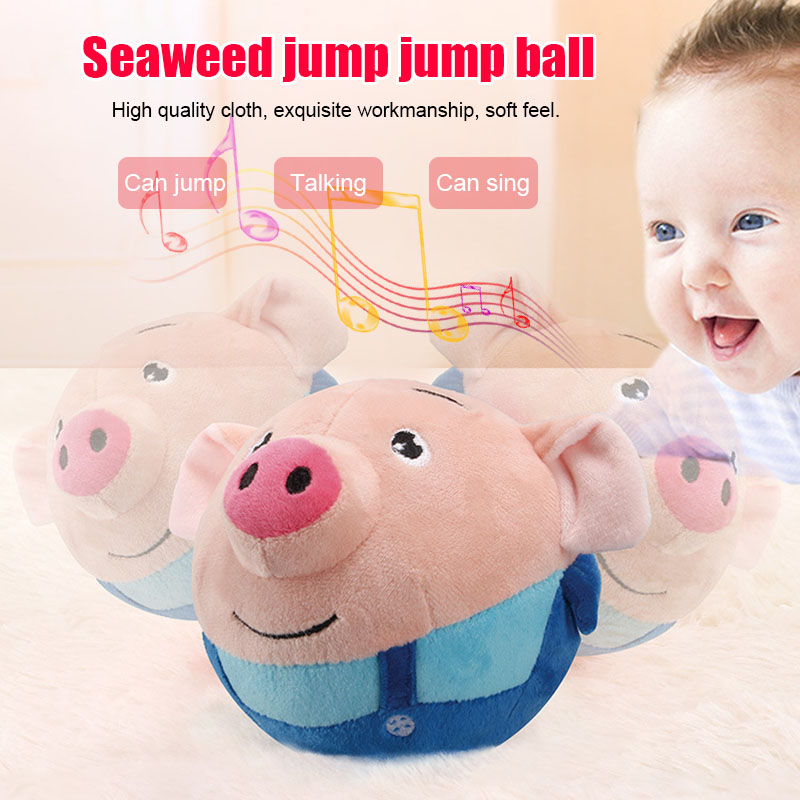 Cute Electric Bouncing Music Ball Toy Multi-Function Interactived Plush USB Charging Toy High Quality