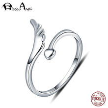 Angel Wings Ring Authentic 925 Sterling Silver Adjustable Engagement Heart Finger Rings for Women Fine Jewelry