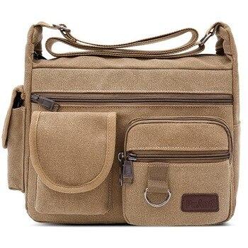 Canvas Messenger Bag for Men Vintage Water Resistant Waxed Crossbody bags Briefcase Padded Shoulder Bag for Male Handbag