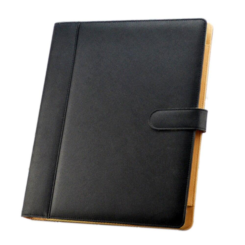 A4 3 Hole PU Leather File Folder Portfolio With Holder Calculator For Business Office Black