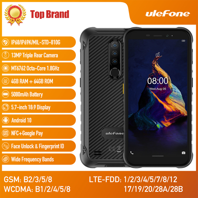 Ulefone Armor X8 Rugged Waterproof Smartphone Android10 5.7-inch Cell Phone 4GB 64GB  ip68 Octa-core  NFC 4G LTE Mobile Phone 2