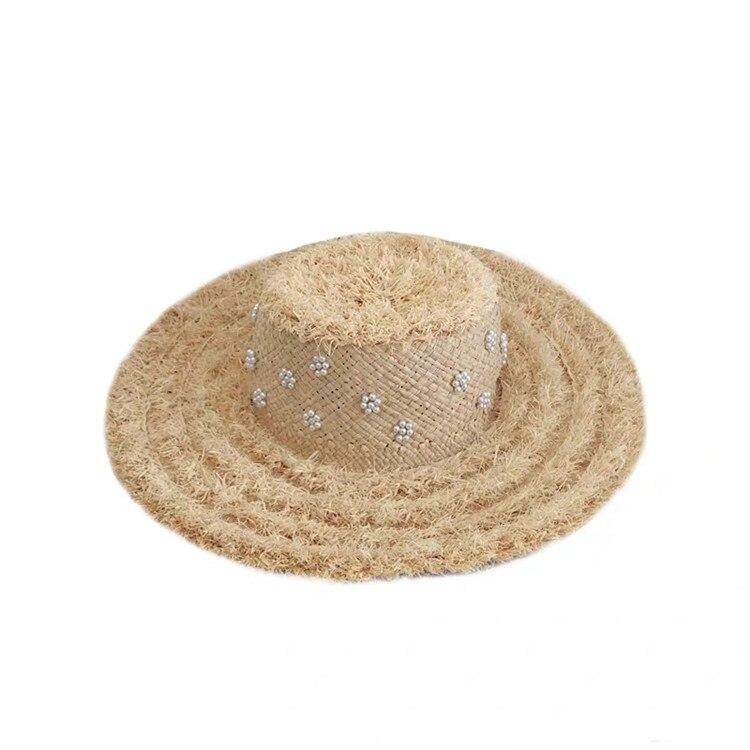Été lourd à la main chapeau de paille décontracté plage vacances pare-soleil chapeau décontracté sauvage